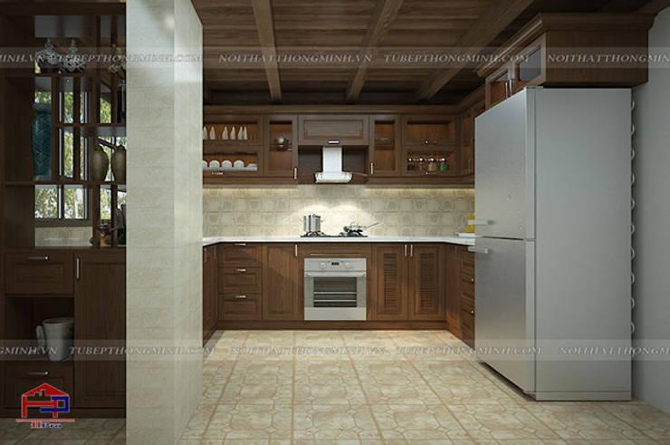 Ảnh thiết kế 3D tủ bếp gỗ sồi mỹ cho khách hàng người nước ngoài:  Kitchen by Nội thất Hpro