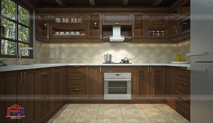 Ảnh 3D thiết kế bộ tủ bếp gỗ sồi mỹ cho khách hàng người nước ngoài:  Kitchen by Nội thất Hpro
