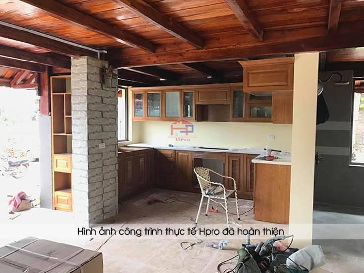 Hpro thi công lắp đặt tủ bếp gỗ sồi mỹ cho khách hàng người nước ngoài tại Hòa Bình:  Kitchen by Nội thất Hpro