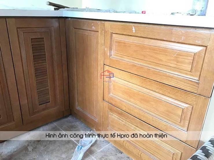 Ảnh thực tế hệ tủ bếp gỗ sồi mỹ dưới của khách hàng người nước ngoài tại Hòa Bình:  Kitchen by Nội thất Hpro