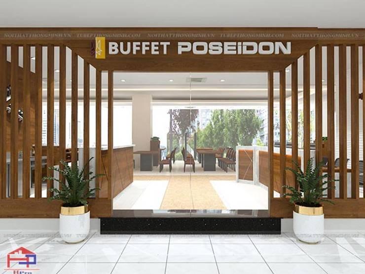 Ảnh thiết kế 3D cửa trước nhà hàng Buffet Poseidon cơ sở 2:  Office spaces & stores  by Nội thất Hpro