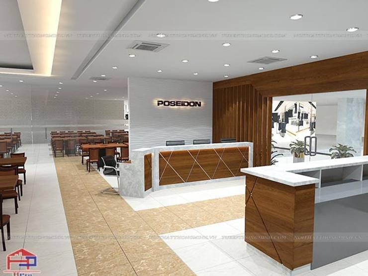 Ảnh thiết kế 3D quầy lễ tân laminate nhà hàng Buffet Poseidon cơ sở 2:  Office spaces & stores  by Nội thất Hpro