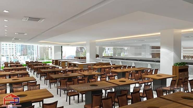 Thiết kế nội thất laminate nhà hàng Buffet Poseidon cơ sở 2 - Khu vực trung tâm dành cho thực khách thưởng thức thức ăn:  Office spaces & stores  by Nội thất Hpro