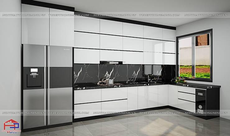 Ảnh thiết kế 3D tủ bếp acrylic nhà anh Thành ở Tuyên Quang:  Kitchen by Nội thất Hpro