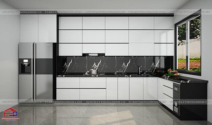 Ảnh thiết kế 3D bộ tủ bếp acrylic chữ L nhà anh Thành ở Tuyên Quang:  Kitchen by Nội thất Hpro