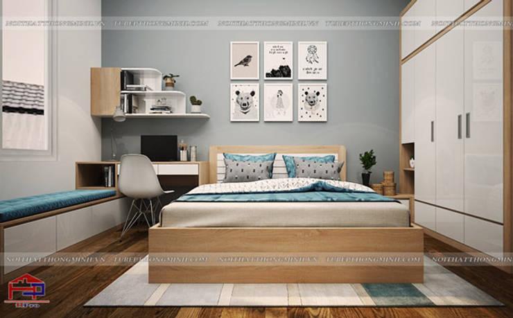 Ảnh 3D thiết kế nội thất phòng ngủ bé trai gỗ laminate nhà chị Hương ở Việt Trì :  Bedroom by Nội thất Hpro