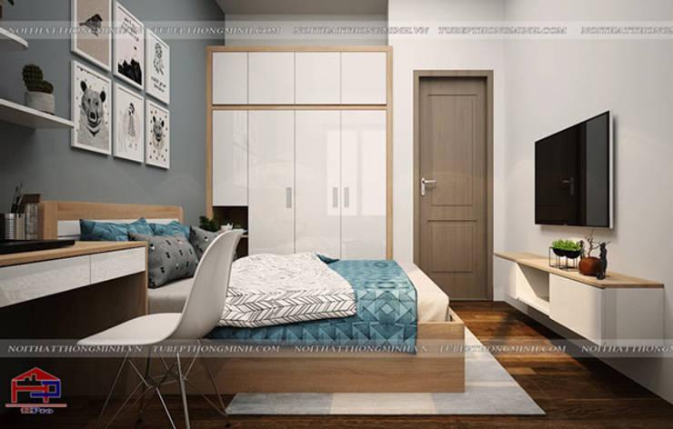 Ảnh 3D thiết kế nội thất phòng ngủ bé trai gỗ laminate nhà chị Hương ở Việt Trì  - view 2:  Bedroom by Nội thất Hpro
