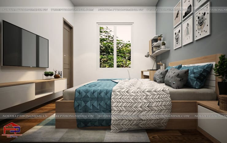 Ảnh 3D thiết kế nội thất phòng ngủ bé trai gỗ laminate nhà chị Hương ở Việt Trì  - view 3:  Bedroom by Nội thất Hpro