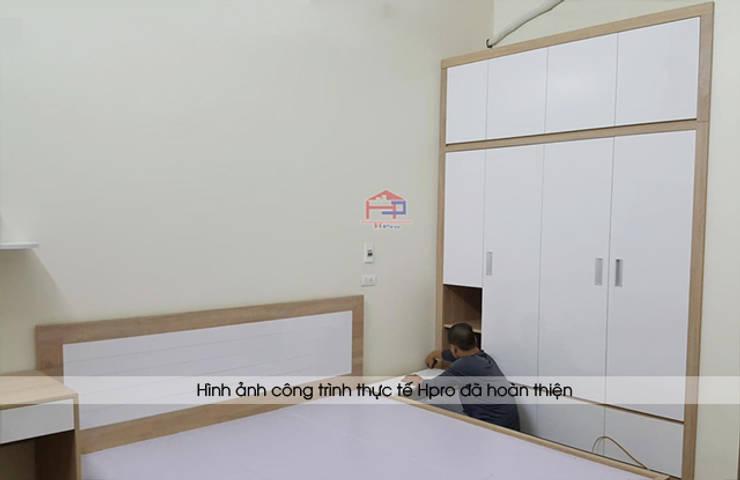 Ảnh thực tế thi công nội thất phòng ngủ bé trai gỗ laminate nhà chị Hương ở Việt Trì:  Bedroom by Nội thất Hpro