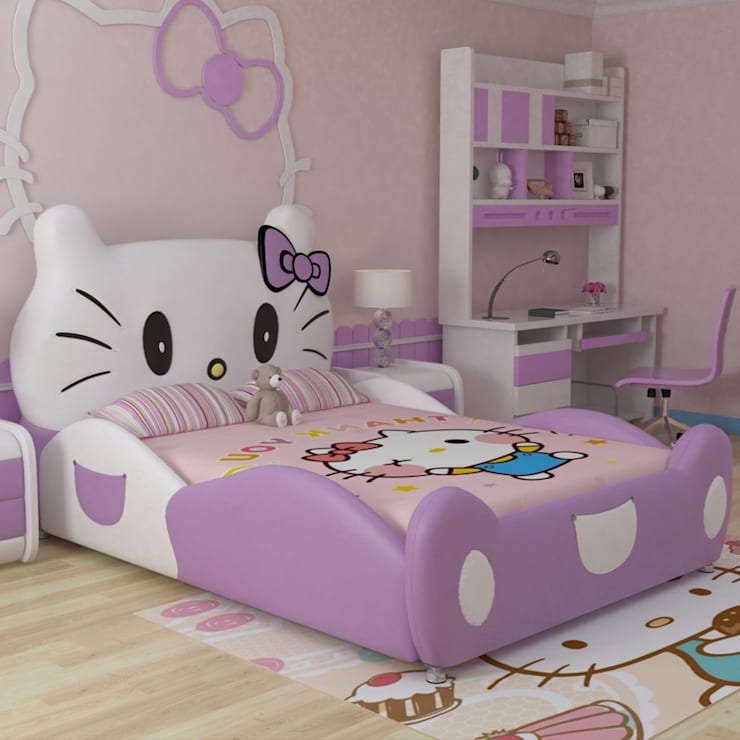 7 Mẫu giường hello kitty dành cho bé gái dễ thương:  Bedroom by Xưởng nội thất Thanh Hải