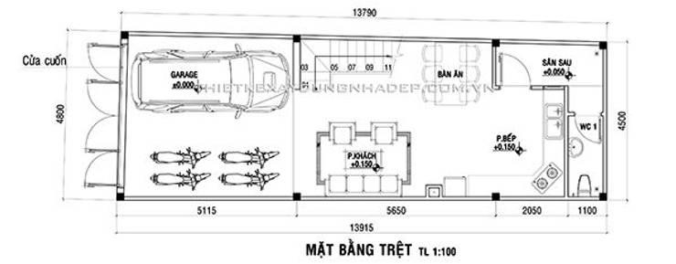 Thiết kế nhà phố 3 tầng:  Nhà by Công ty cổ phần tư vấn kiến trúc xây dựng Nam Long