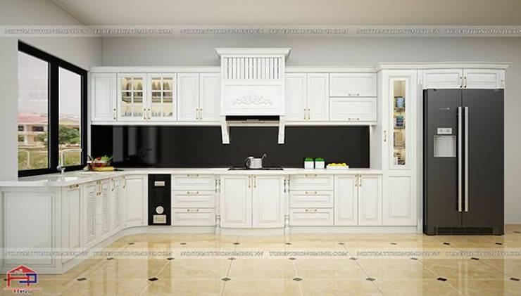 Ảnh 3D thiết kế tủ bếp tân cổ điển nhà chú Đạt ở Long Biên:  Kitchen by Nội thất Hpro