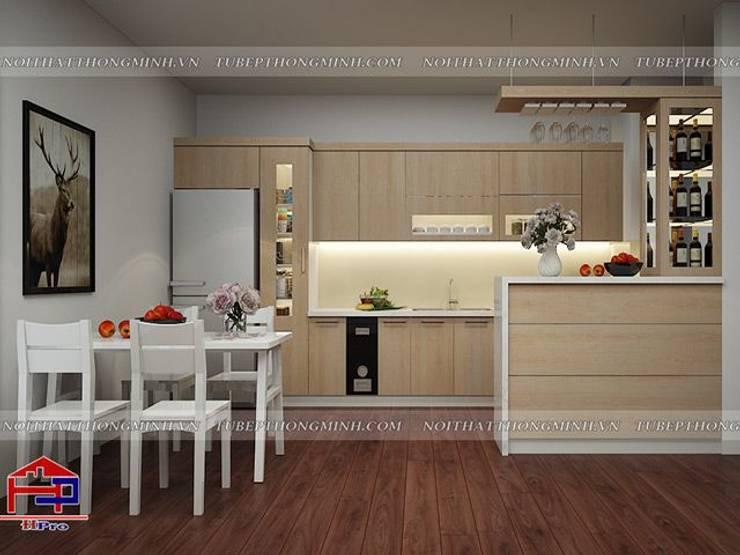Ảnh thiết kế 3D tủ bếp laminate nhà anh Lộc ở Cầu Giấy:  Kitchen by Nội thất Hpro