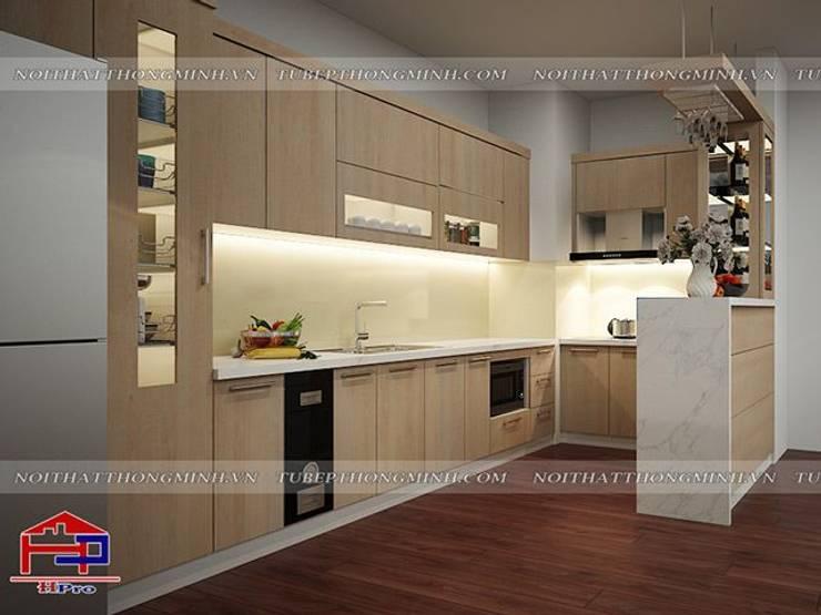 Ảnh 3D thiết kế tủ bếp laminate kèm quầy bar mini nhà anh Lộc ở Cầu Giấy:  Kitchen by Nội thất Hpro