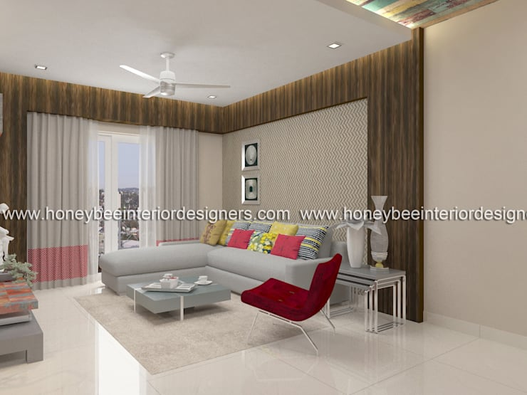 Living Room:  Living room by Honeybee Interior Designers