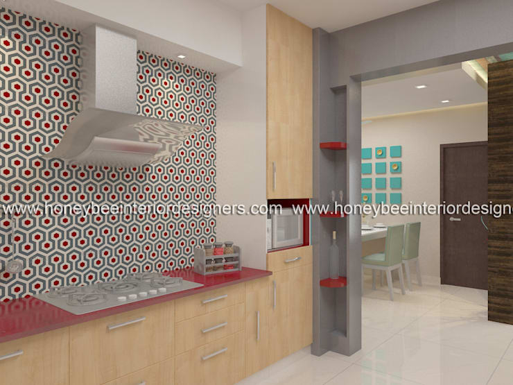 Kitchen:  Kitchen units by Honeybee Interior Designers