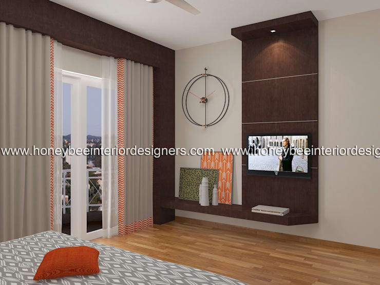 Master Bedroom:  Bedroom by Honeybee Interior Designers