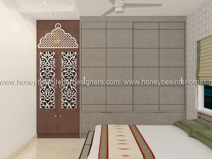 Mandir:  Bedroom by Honeybee Interior Designers