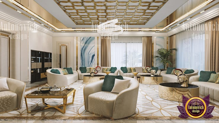 A Touch of Emerald in a Living Room:   by Luxury Antonovich Design