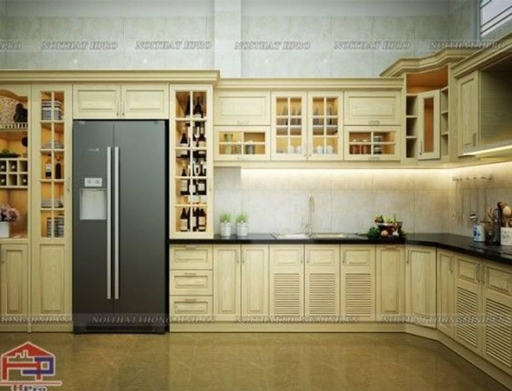Ảnh thiết kế 3D tủ bếp gỗ sồi nga nhà anh Khê ở Thái Bình:  Kitchen by Nội thất Hpro