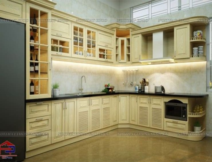 Ảnh thiết kế tủ bếp gỗ sồi nga tân cổ điển nhà anh Khê ở Thái Bình:  Kitchen by Nội thất Hpro
