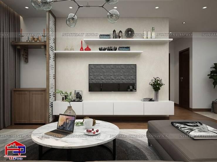 Ảnh 3D thiết kế nội thất phòng khách nhà chú Quang ở tòa Ruby1 Goldmark City:  Living room by Nội thất Hpro