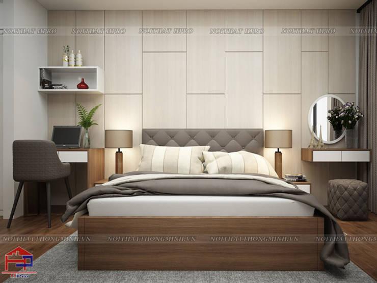 Ảnh 3D thiết kế nội thất phòng ngủ master nhà chú Quang ở tòa Ruby1 Goldmark City:  Bedroom by Nội thất Hpro