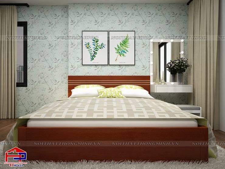 Ảnh 3D thiết kế nội thất phòng ngủ bé gái nhà chú Quang ở tòa Ruby1 Goldmark City:  Bedroom by Nội thất Hpro