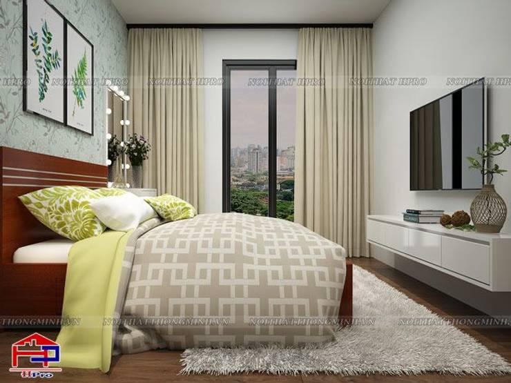 Ảnh 3D thiết kế nội thất phòng ngủ bé gái nhà chú Quang ở tòa Ruby1 Goldmark City - view 2:  Bedroom by Nội thất Hpro