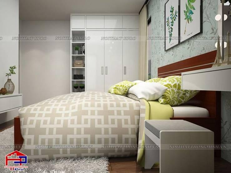 Ảnh 3D thiết kế nội thất phòng ngủ bé gái nhà chú Quang ở tòa Ruby1 Goldmark City - view 3:  Bedroom by Nội thất Hpro