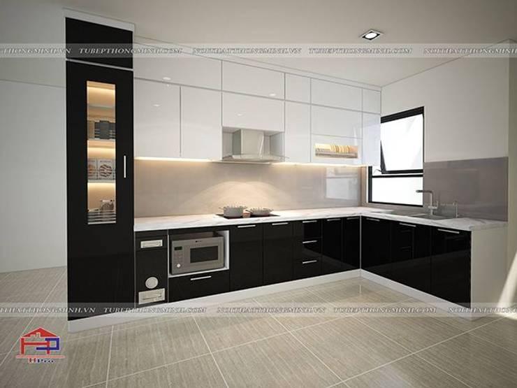 Ảnh thiết kế 3D tủ bếp acrylic đen trắng nhà anh Thảo ở Ngoại Giao Đoàn.:  Kitchen by Nội thất Hpro