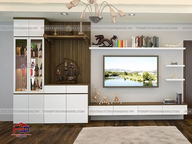Ảnh 3D thiết kế nội thất phòng khách gỗ công nghiệp An Cường nhà anh Thảo ở Ngoại Giao Đoàn:  Living room by Nội thất Hpro