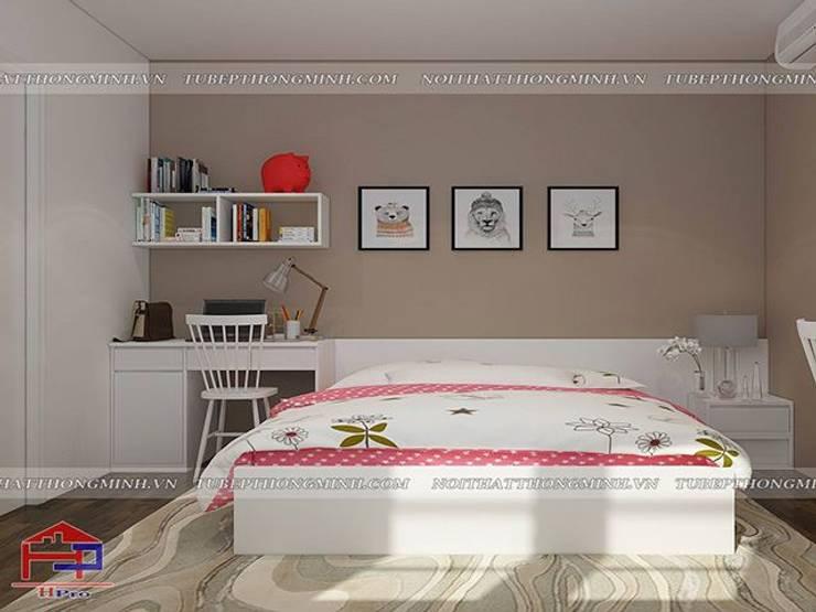 Ảnh 3D thiết kế nội thất phòng ngủ cho bé nhà anh Thảo ở Ngoại Giao Đoàn:  Bedroom by Nội thất Hpro