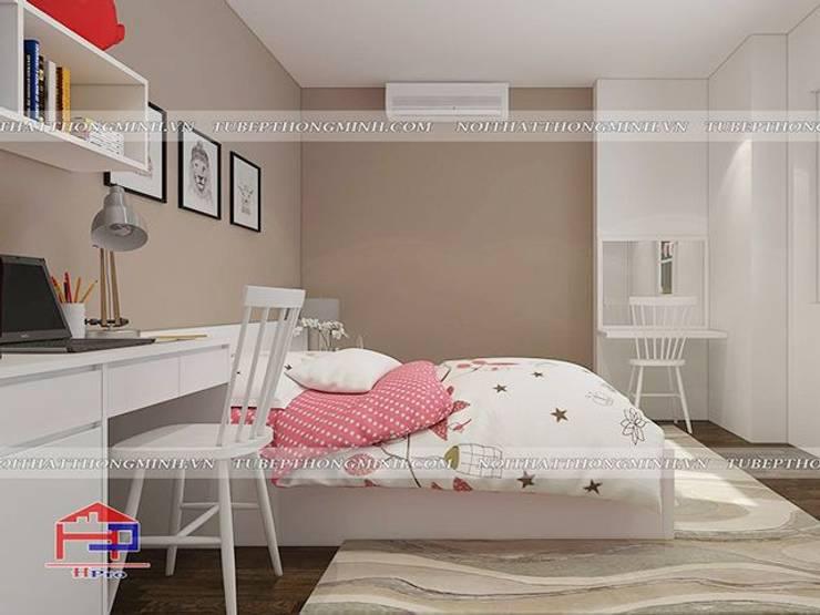 Ảnh 3D thiết kế nội thất phòng ngủ cho bé nhà anh Thảo ở Ngoại Giao Đoàn - view 2:  Bedroom by Nội thất Hpro