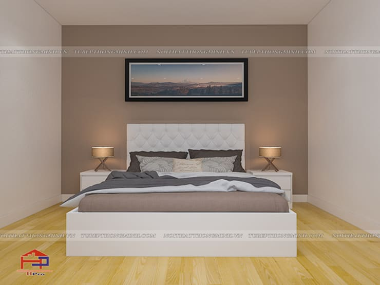 Ảnh 3D thiết kế nội thất phòng ngủ nhà anh Trí ở Nam Định:  Bedroom by Nội thất Hpro