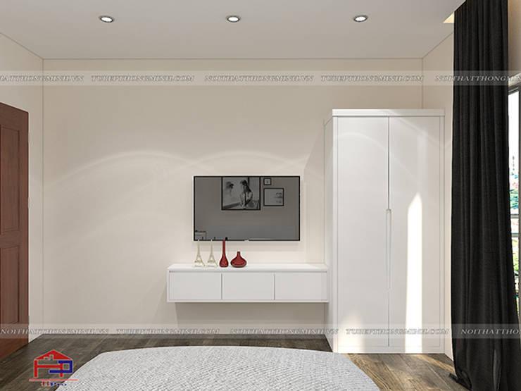 Ảnh 3D thiết kế nội thất phòng ngủ hạng mục kệ tivi và tủ quần áo nhà anh Trí ở Nam Định:  Bedroom by Nội thất Hpro