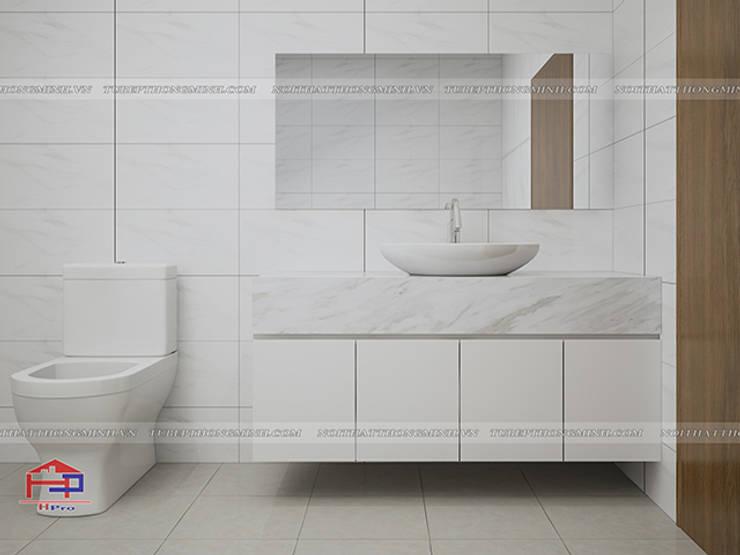 Ảnh 3D tủ lavabo gỗ melamine An Cường nhà anh Trí ở Nam Định:  Bathroom by Nội thất Hpro