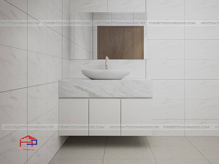 Ảnh thiết kế 3D tủ lavabo gỗ công nghiệp melamine nhà anh Trí ở Nam Định:  Bathroom by Nội thất Hpro