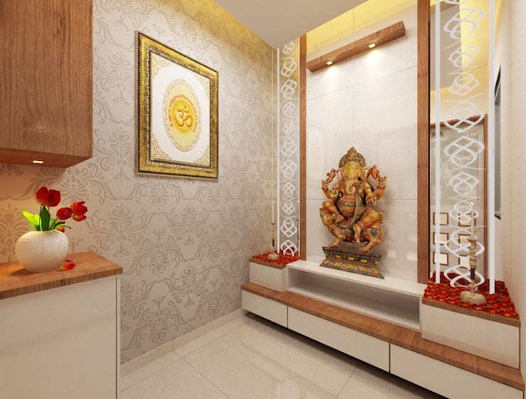 Puja room angle 1:  Study/office by Square 4 Design & Build