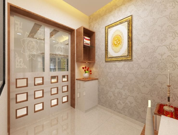 Puja room angle 2:  Study/office by Square 4 Design & Build
