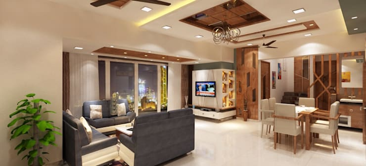 Living room tv unit area:  Living room by Square 4 Design & Build