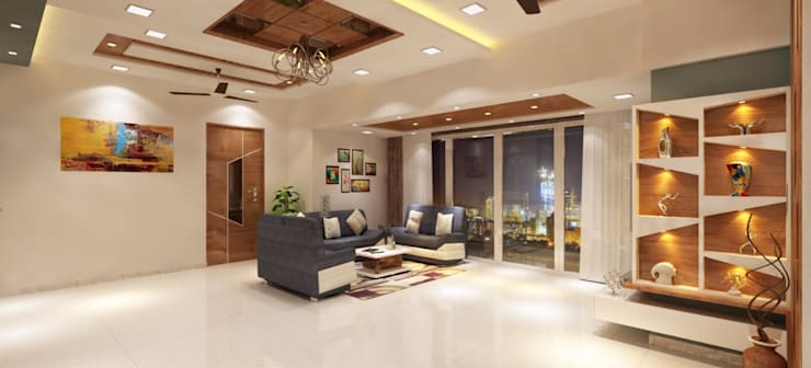 Living room Sofa seating area:  Living room by Square 4 Design & Build