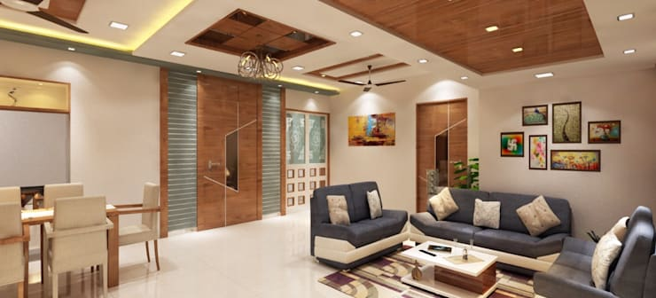 Living room entrance:  Doors by Square 4 Design & Build