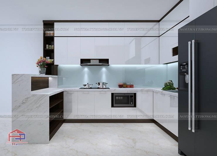 Ảnh 3D thiết kế tủ bếp acrylic chữ L nhà chị Hương ở Sơn La:  Kitchen by Nội thất Hpro