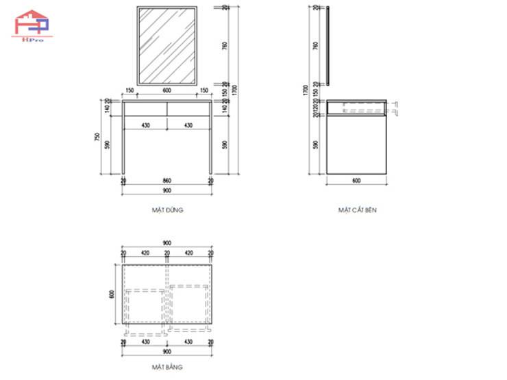 Bản vẽ chi tiết bàn phấn melamine trong nội thất phòng ngủ master nhà chị Hương ở Sơn La:  Bedroom by Nội thất Hpro