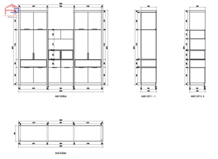 Bản vẽ chi tiết tủ quần áo melamine trong nội thất phòng ngủ cho bé nhà chị Hương ở Sơn La:  Bedroom by Nội thất Hpro