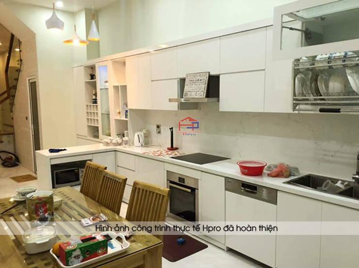 Hoàn thành thi công tủ bếp acrylic màu trắng chị Thu ở Long Biên:  Kitchen by Nội thất Hpro