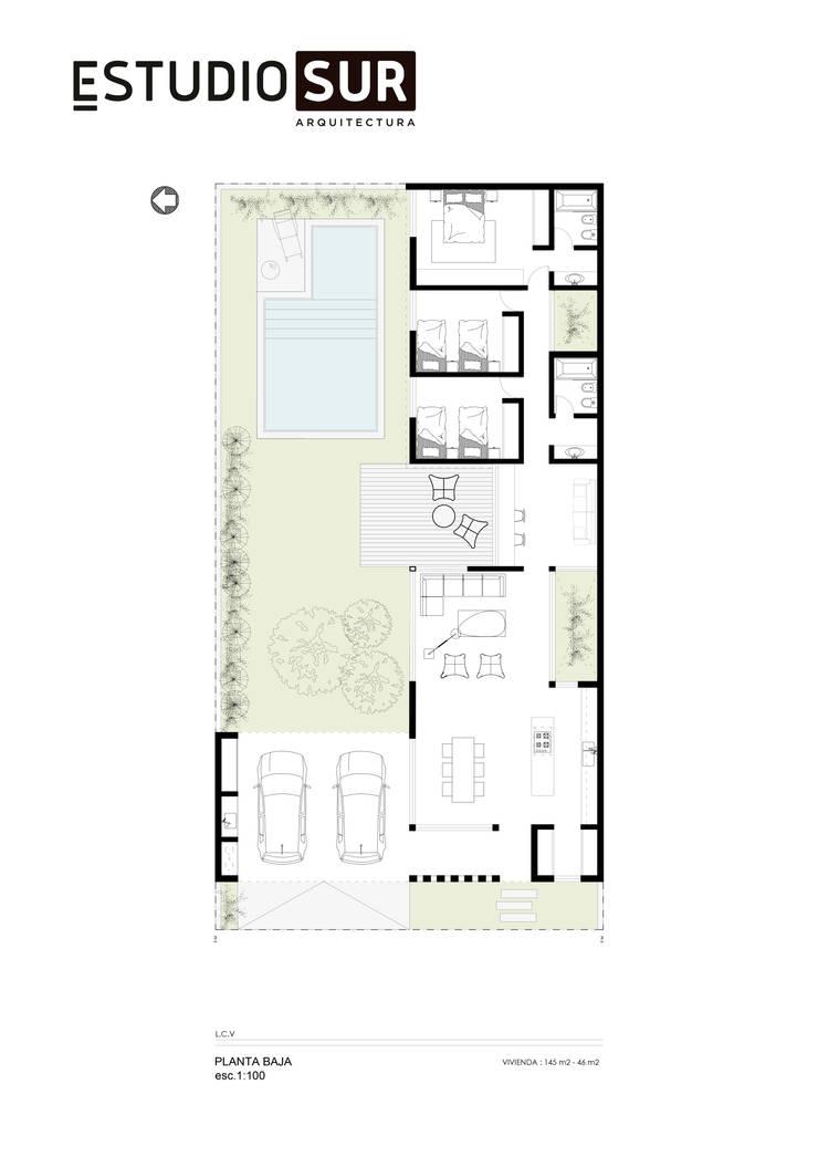 Casa GV :  de estilo  por EstudioSUR,