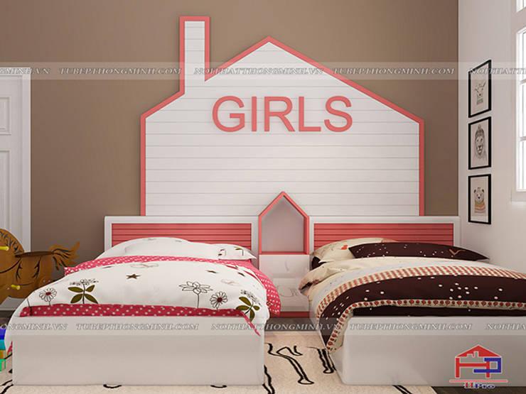 Ảnh 3D thiết kế nội thất phòng ngủ bé gái nhà anh Tú ở Bắc Ninh - Hạng mục giường ngủ:  Bedroom by Nội thất Hpro