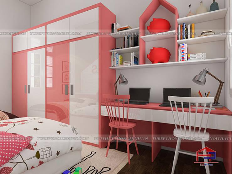 Ảnh 3D thiết kế nội thất phòng ngủ của bé gái nhà anh Tú ở Bắc Ninh - Hạng mục bàn học và kệ sách:  Bedroom by Nội thất Hpro